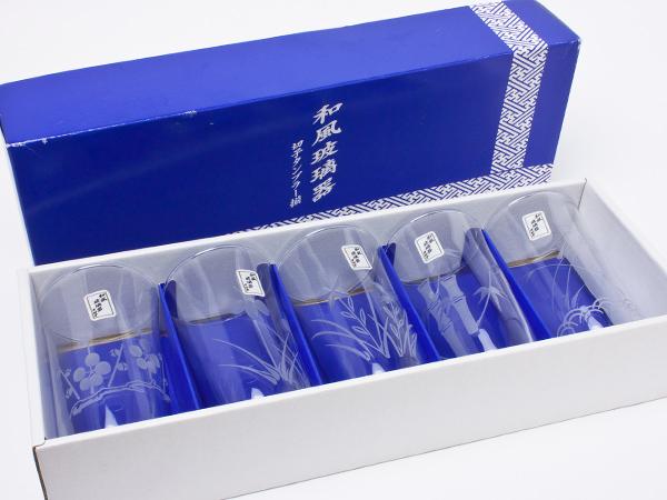 東洋佐々木ガラス 和風玻瑠器「五様切子タンブラー揃」 kp14お茶のふじい・藤井茶舗