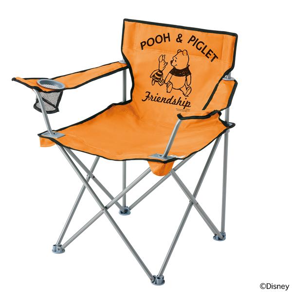 OUTDOOR LOGOS(ロゴス) ディズニー アームスリムチェア(プー&ピグレット) 86003677オレンジ イス レジャーシート テーブル チェア フォールディングチェア アウトドアギア