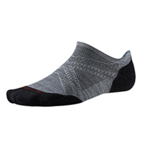 SmartWool(スマートウール) PhDランライトエリートマイクロ/ライトグレー/ブラック/L SW70503男性用 グレー 靴下 メンズウェア ウェア ソックス ウール アウトドアウェア