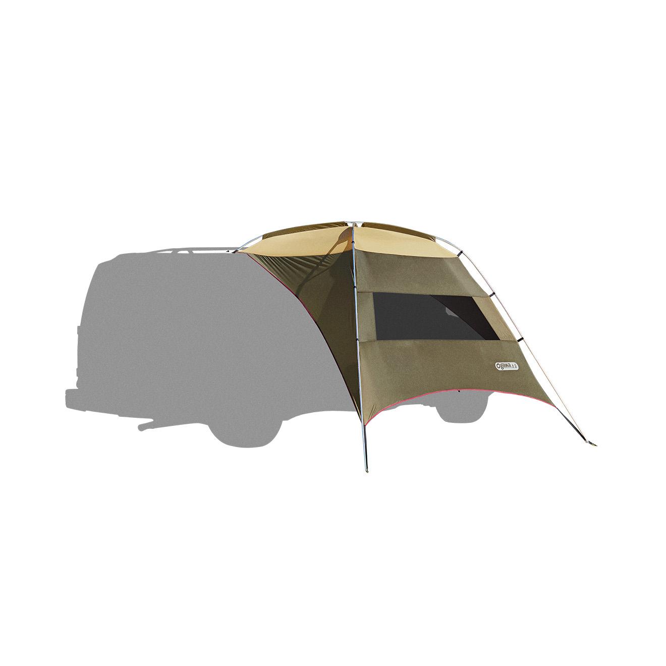 ogawa campal(小川キャンパル) カーサイドタープAL/ブラウン×サンド×レッド(80) 2332タープ タープ テント カーサイド型 カーサイド型 アウトドアギア