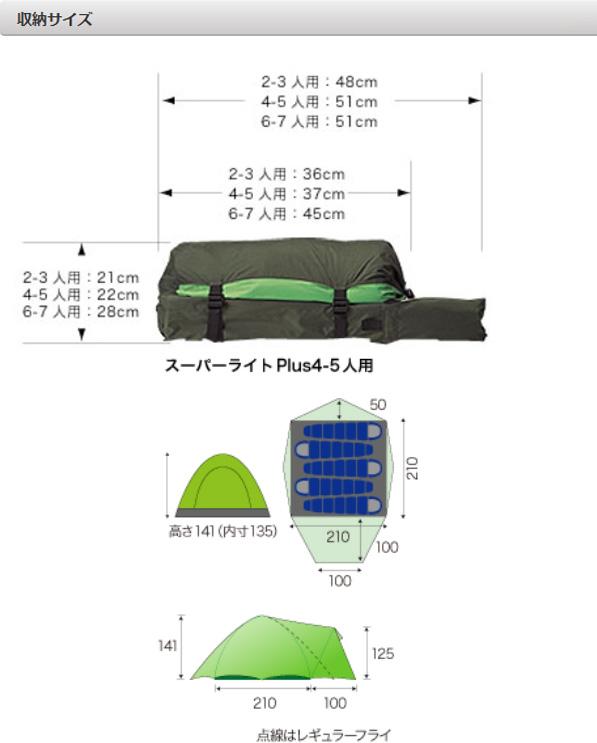 ESPACE(エスパース) スーパーライト Plus4-5人用(レインフライ付) SPLPlusグリーン 四人用(4人用) テント タープ 登山用テント 登山4 アウトドアギア