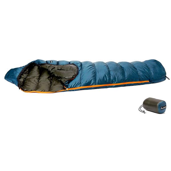 PuroMonte(プロモンテ) コンパクトダウンシュラフ300g/Gブルー/Dグリーン DL301ブルー シュラフ 寝袋 アウトドア用寝具 マミー型 マミースリーシーズン アウトドアギア