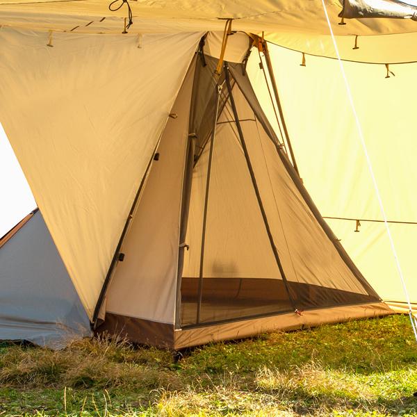 ogawa campal(小川キャンパル) ツインレクスタ用フルインナー 3575アウトドアギア インナーテント タープ 四人用(4人用) ブラウン おうちキャンプ ベランピング