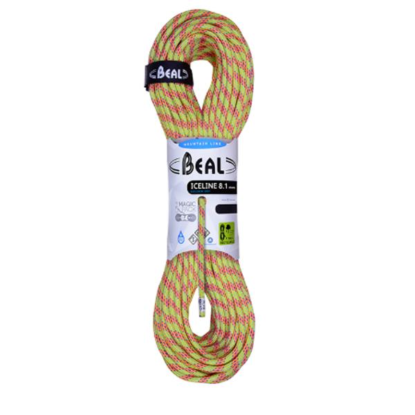 BEAL(ベアール) 8.1mm アイスライン ユニコア 60m ゴールデンドライ/アニス BE11020イエロー アウトドア アウトドア スポーツ ロープ ダブルロープ アウトドアギア