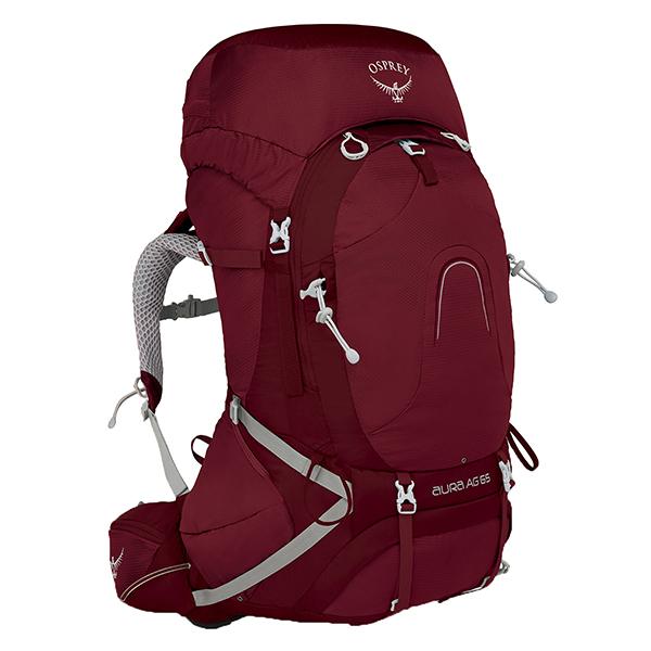 OSPREY(オスプレー) オーラAG 65/ガンマレッド/S OS50185女性用 グレー リュック バックパック バッグ トレッキングパック トレッキング60 アウトドアギア