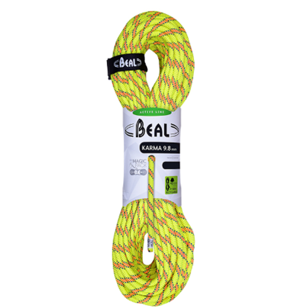 BEAL(ベアール) 9.8mmカルマ 50m/イエロー BE11400イエロー トレッキング 登山 アウトドア ロープ シングルロープ アウトドアギア