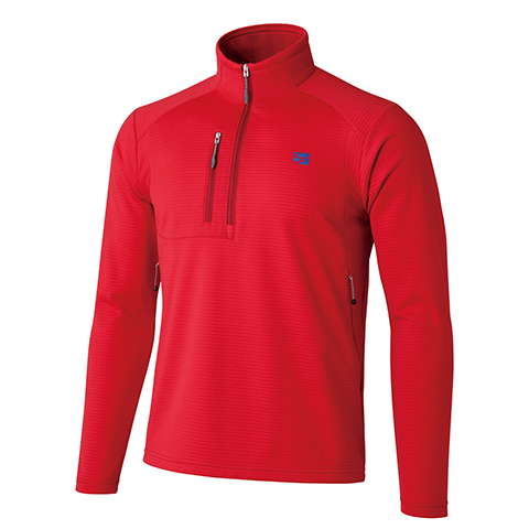 finetrack(ファイントラック) MENSドラウトクロージップネック/FI/L FMM0522アウトドアウェア 長袖Zipシャツ男性用 長袖シャツ アウトドア メンズウェア レッド