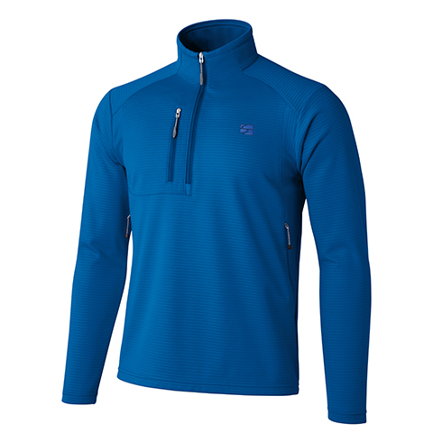 finetrack(ファイントラック) MENSドラウトクロージップネック/FN/S FMM0522アウトドアウェア 長袖Zipシャツ男性用 長袖シャツ アウトドア メンズウェア ブルー