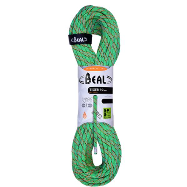 ★エントリーでポイント5倍!BEAL(ベアール) 10mm タイガー ユニコア 50m ドライカバー/グリーン BE11114グリーン トレッキング 登山 アウトドア ロープ シングルロープ アウトドアギア