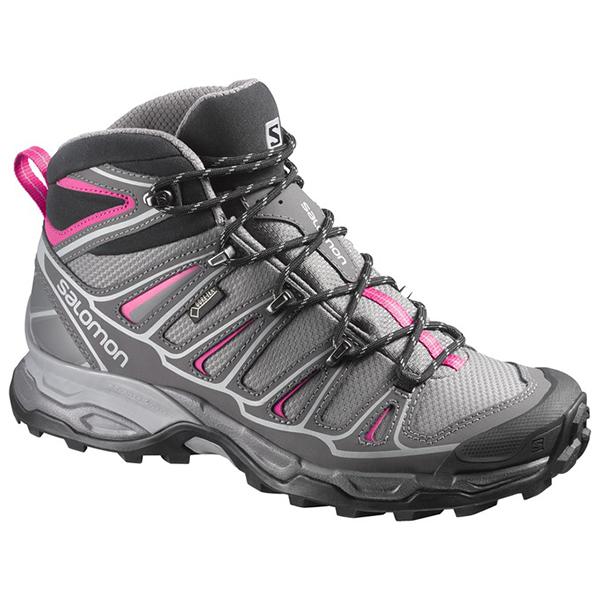 SALOMON(サロモン) ULTRA MID GTX W/DETROIT/AUTOBAHN/HOT PINK/25cm L37147700アウトドアギア トレイルランシューズ アウトドアスポーツシューズ トレッキング 靴 ブーツ ウルトラミッド2GTXR W グレー 女性用