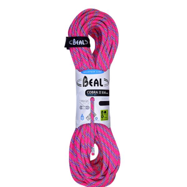BEAL(ベアール) 8.6mm コブラ2 ユニコア 50m ゴールデンドライ/フューシャ BE11030パープル アウトドア アウトドア スポーツ ロープ ダブルロープ アウトドアギア