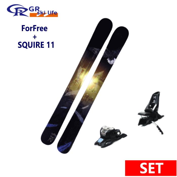 ★GR ski life ForFree+SQUIRE 11 ID BLK スキー板ボード専門ブランドジーアールスキー板ライフ ショートスキー板ビンディングセット 日本正規品