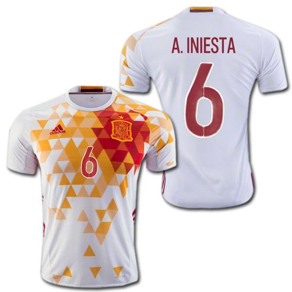 スペイン代表 2016 アウェイ(白) # 6 A.INIESTA アンドレス・イニエスタ ユーロ2016 ADIDAS