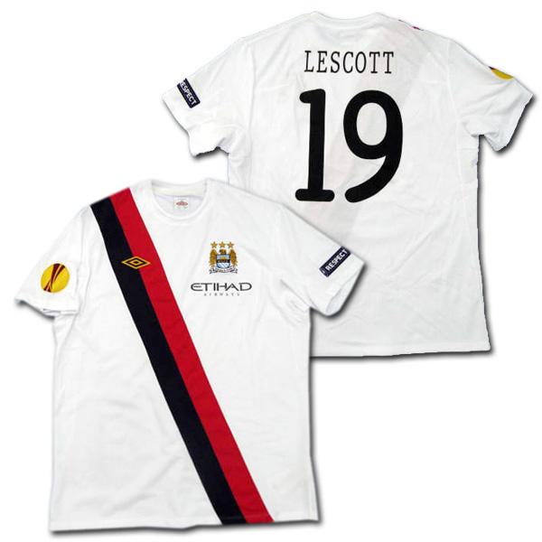 【選手支給品】マンチェスターシティ 10/11 サード 半袖 #19 LESCOTT EL+RESPECTパッチ