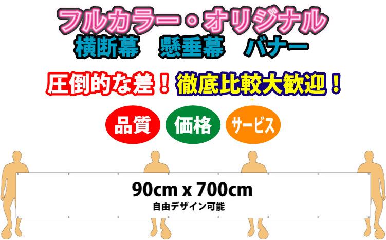 フルデザイン横断幕 90cm x 700cm 布製(ウィンドブレーカー生地) 【送料無料】