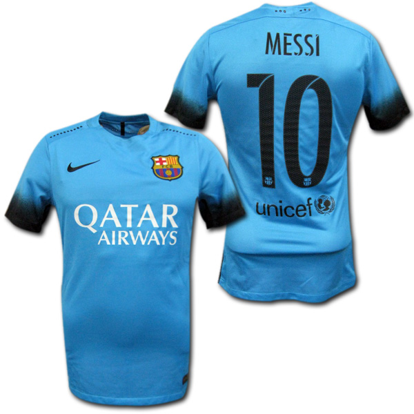 e19fcd23511 15/16 FC Barcelona third (light blue) authentic # 10 MESSI Messi NIKE ...