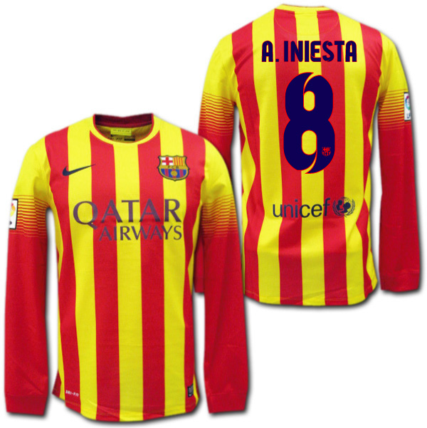 804199f3e60 O.K.A.Football  Product made by FC Barcelona 13 14 14 15 away (yellow    red) long sleeves  8 A.INIESTA Iniesta Nike