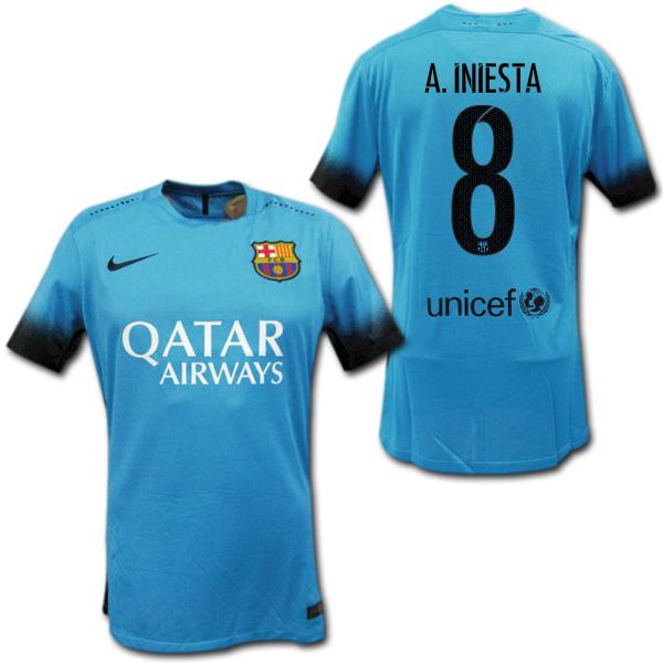 los angeles 3c141 18895  15/16 FC Barcelona third (light blue) authentic # 8 A.INIESTA Iniesta NIKE