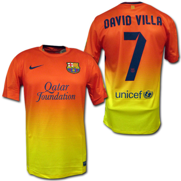 size 40 039b4 8b785 Product made by FC Barcelona 12/13 away (orange x yellow) #7 DAVID VILLA  David Villa Nike