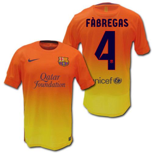 sports shoes 36d79 b25fb FC Barcelona and 12 / 13 away (Orange x yellow) # 4 FABREGAS CESC Fabregas  made by Nike