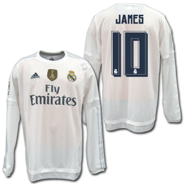 get cheap 6c25f 278fd Real Madrid 15/16 home (white) # 10 JAMES James Rodriguez long sleeves  adidas