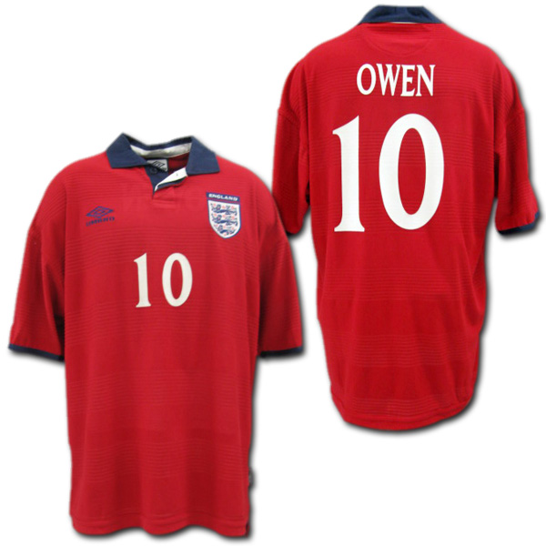 【EURO2000】イングランド代表 アウェイ(赤)#10 OWEN オーウェン EUROパッチ付き umbro製【メール便送料無料】