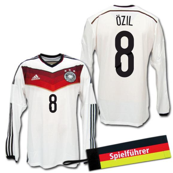 【入手困難・おまけ付】 2014 ドイツ代表 3星! ホーム(白) 長袖 #8 OZIL メスト・エジル adidas