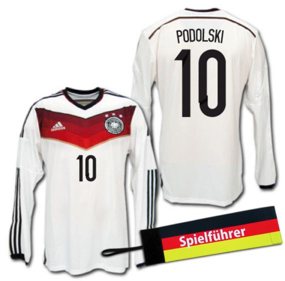 【入手困難・おまけ付】 2014 ドイツ代表 3星! ホーム(白) 長袖 #10 PODOLSKI ポドルスキ adidas