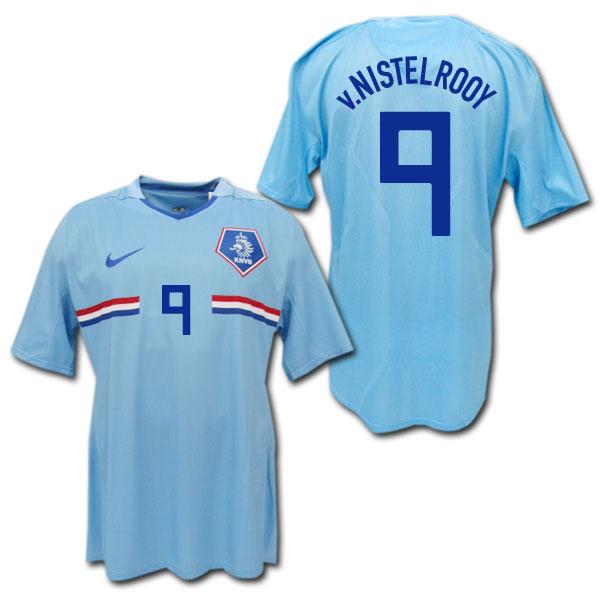 2008 オランダ代表 選手用 アウェイ(水色) #9 v.NISTERLROOY ファニステルローイ ナイキ製