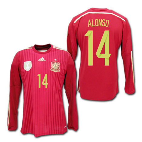 16a65ebcc Representative from 2014 Spain home (red) long sleeves  14 ALONSO Alonso  Brazil World Cup adidas