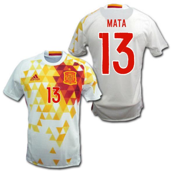 スペイン代表 2016 アウェイ(白) #13 MATA フアン・マタ ユーロ2016 ADIDAS