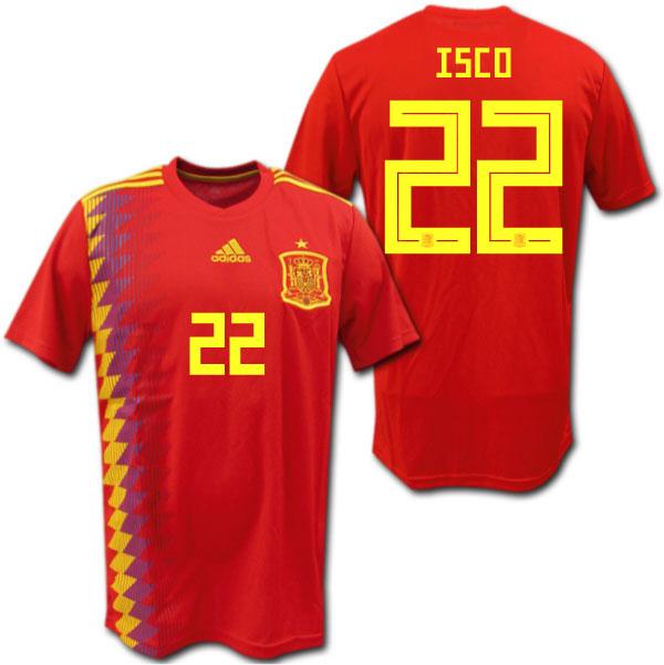 【ロシアW杯モデル】スペイン代表 2018 ホーム(赤) #22 ISCO イスコ adidas