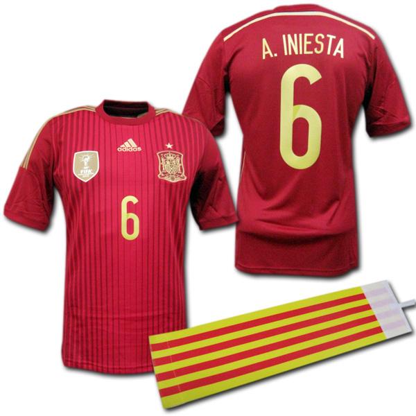 【豪華おまけ付き】 スペイン代表 2014 ホーム #6 A.INIESTA イニエスタ adidas 【メール便送料無料】