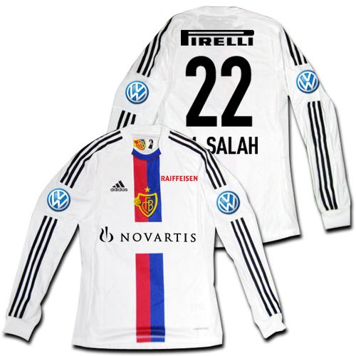 【メール便無料】12/14 FCバーゼル Away #22 M. SALAH モハメド・サラー 長袖 選手用 adidas