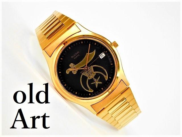 フリーメイソンBULOVAブローバクォーツ式腕時計【M-10170】【中古】【送料無料】