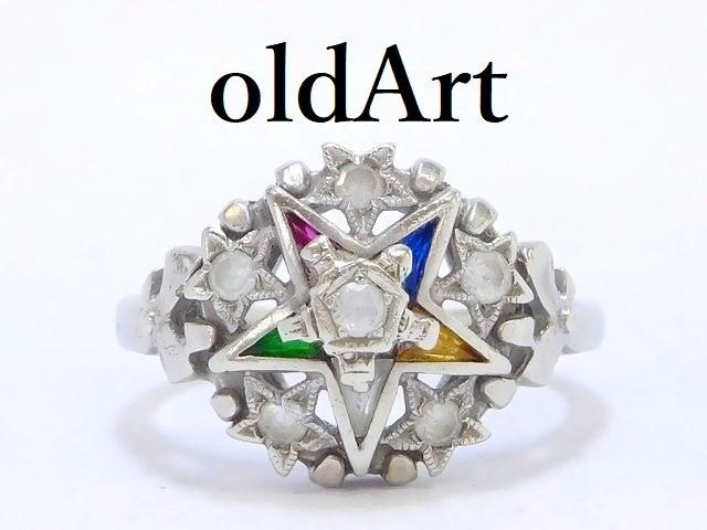 ヴィンテージ 1950年代 フリーメイソン イースタンスター 逆五芒星 10金無垢 リング 指輪 10号 10K ホワイト ゴールド【M-12901】【中古】【送料無料】