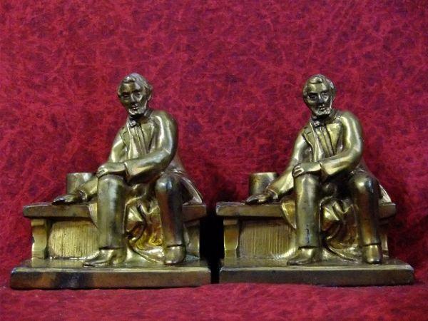 ビンテージリンカーンアメリカ合衆国大統領銅像ブロンズ製ブックエンド置物【M-6263】【中古】【送料無料】