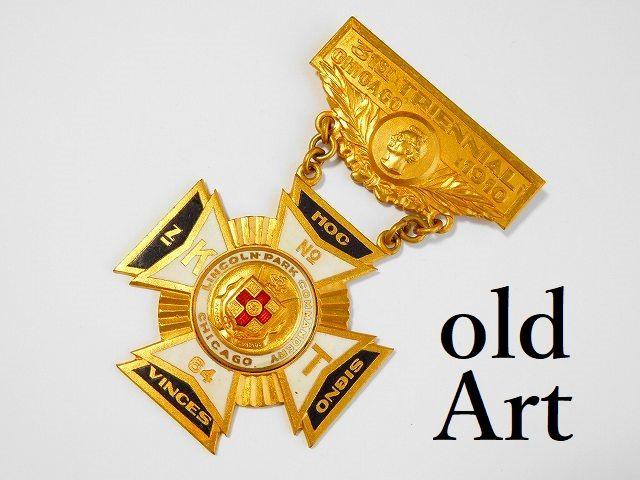 1910年代フリーメイソンテンプル騎士団リンカーン大統領アンティーク勲章バッジ 【M-11789】【中古】【送料無料】