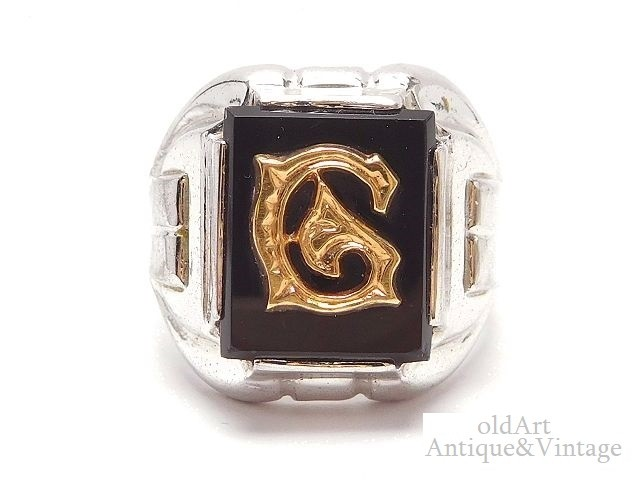 Vintage 新色 silver Signet Ring アメリカ 一点物 ビンテージ アクセサリー 誕生日 記念日 お祝い プレゼント ギフト ラッピング無料 コレクション オニキス 中古 ランキングTOP5 メンズ 送料無料 ヴィンテージ 8.5号 G 指輪 USA製 M-14624 ClarkCoombs社 イニシャル 1950年代 シルバー製 リング