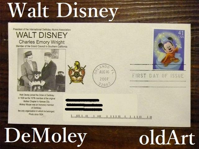 貴重本物フリーメイソン【ウォルト・ディズニー】DeMolayミッキーマウス入会式Disney当時物封筒【M-10712】【中古】【送料無料】