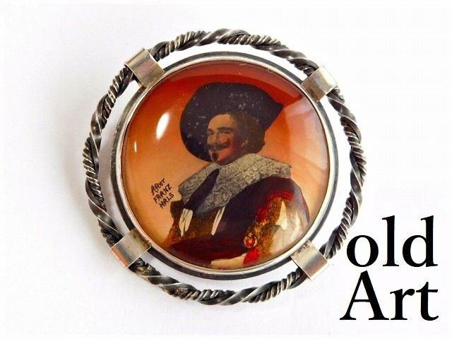 """英国製アンティーク1920-30年代アールデコ""""The Laughing Cavalier""""FransHals絵画銀製ピンブローチ【M-11724】【中古】【送料無料】"""