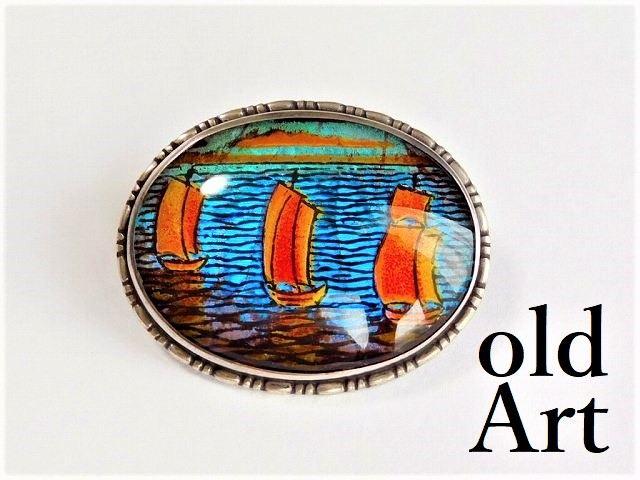 英国製 アンティーク 1920-30年代 アールデコ 3隻の船 モルフォ蝶 バタフライウィング 銀製 ピン ブローチ【M-12345】【中古】【送料無料】