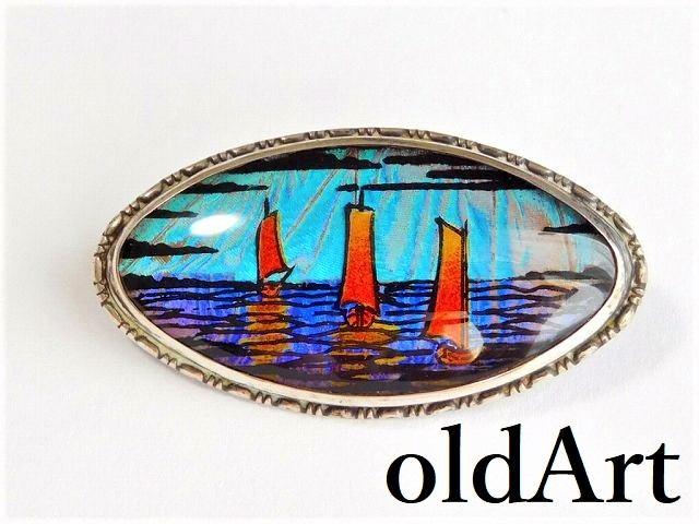 英国製 アンティーク 1920-30年代 アールデコ 3隻の船 モルフォ蝶 バタフライウィング 銀製 ピン ブローチ【M-12346】【中古】【送料無料】