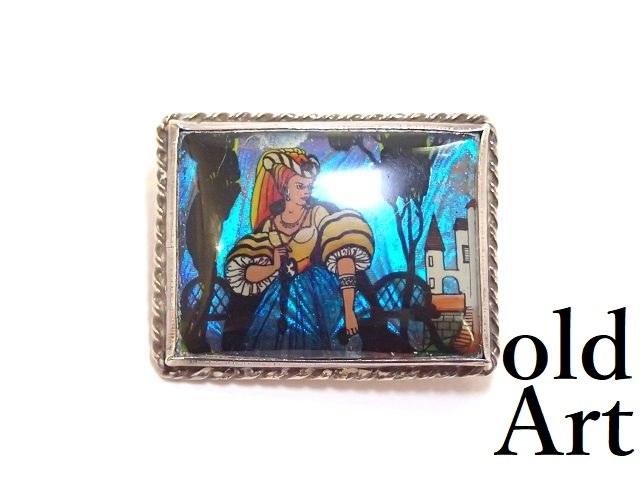 英国製 アンティーク 1920年代 アールデコ 美しい淑女 モルフォ蝶 バタフライウィング 純銀 ピン ブローチ 幻想的 肖像画【M-13292】【中古】【送料無料】