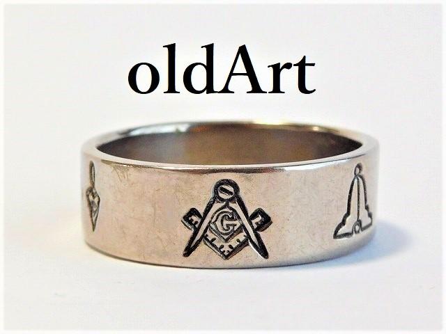 ビンテージ1960年代フリーメイソン神秘意匠リング指輪28号【M-10081】【中古】