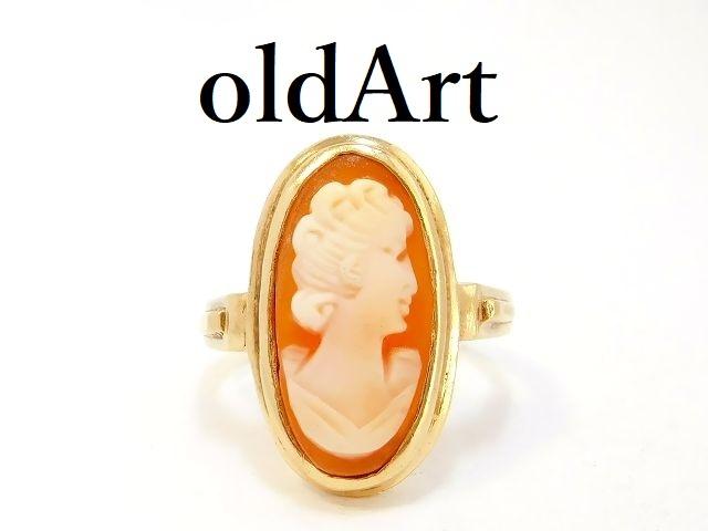 一点物 ヴィンテージ カメオ オーバル型 10金無垢 カーネリアン 赤瑪瑙 リング 指輪 11号 10K ゴールド【M-12989】【中古】【送料無料】
