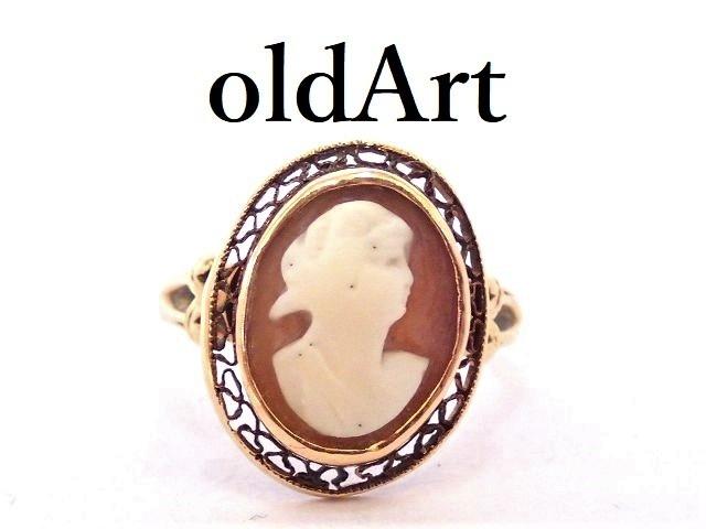 一点物 ヴィンテージ カメオ オーバル型 10金無垢 カーネリアン 赤瑪瑙 リング 指輪 9.5号 10K ゴールド【M-13224】【中古】【送料無料】