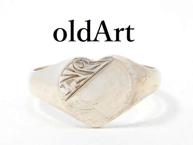 英国 イギリス製 1988年 製造 ヴィンテージ ハート 彫刻 シグネットリング シルバー製 レディース 指輪 11号【M-13074】【中古】【送料無料】