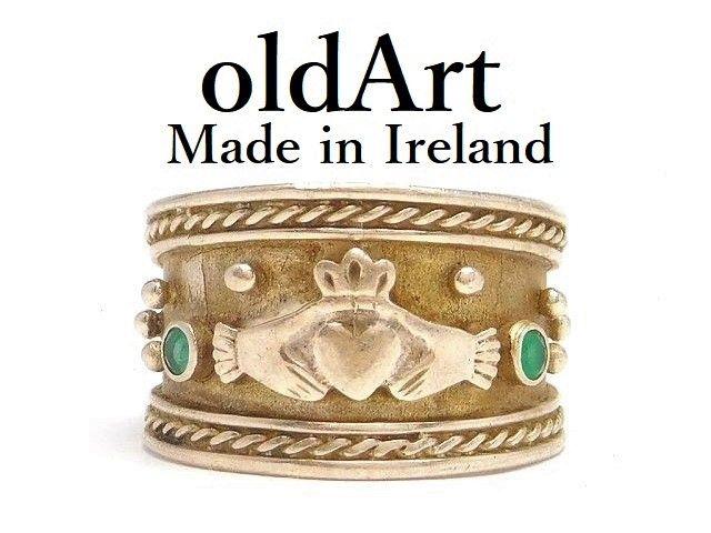 アイリッシュ ケルト ジュエリー IRELAND 友愛のしるし 結婚指輪として伝えられてきたとされています 記念日やお祝いプレゼントにも アイルランド製 受賞店 伝統的な指輪 Claddagh Ring クラダリング M-14497 送料無料 中古 ビンテージ ハート 両手 11.5号 格安店 スターリングシルバー ホールマーク 刻印 王冠