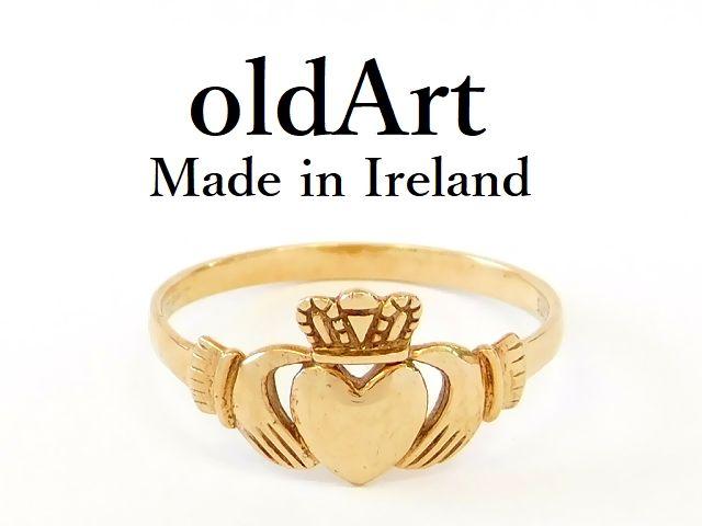 アイルランド製 K.T.S社 伝統的な指輪 Claddagh Ring クラダ リング 9金無垢 20号 ホールマーク 9ct ゴールド 刻印【M-12685】【中古】【送料無料】